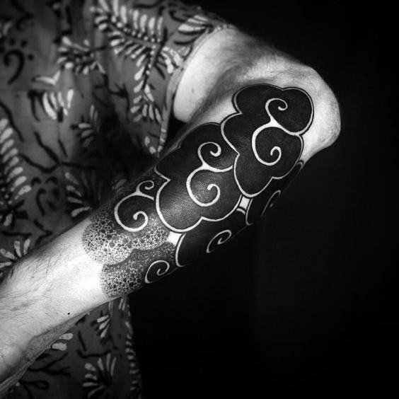 Artistic Black Ink Negative Space Clouds Forearm Sleeve For Men
