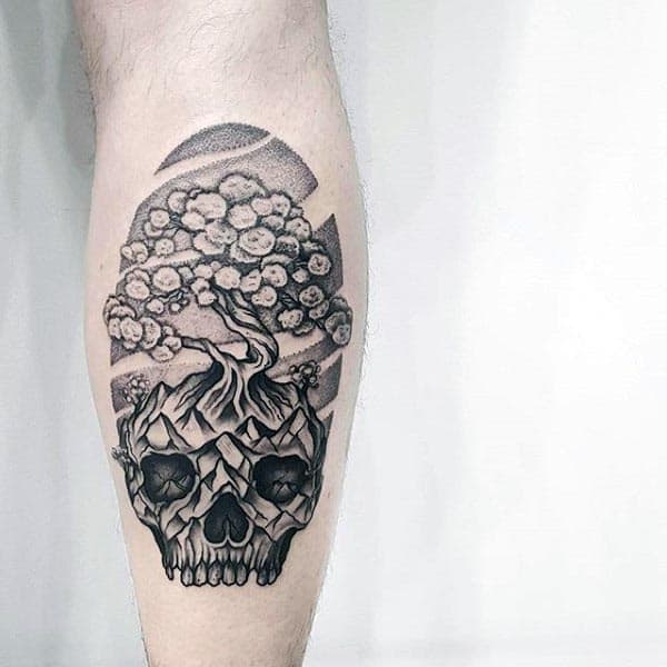 Artistic Bonsai Tree Skull Leg Calf Tattoos For Men