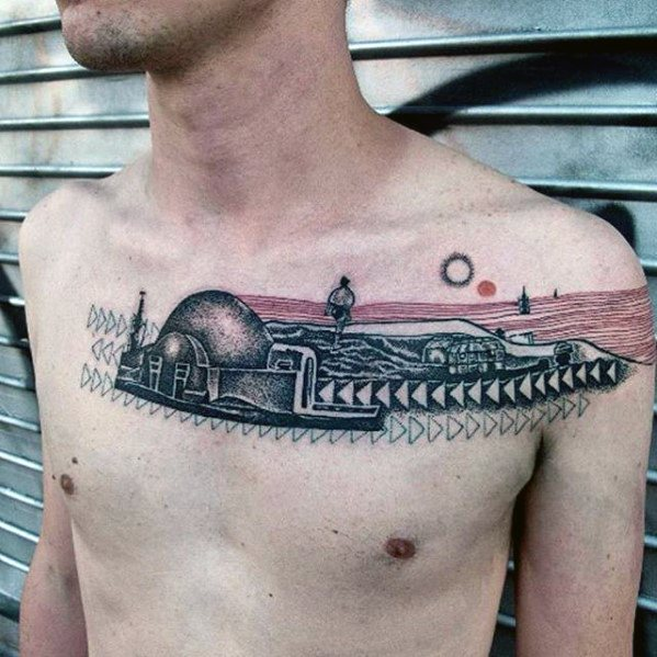 Artistic Building Unique Chest Male Tattoo