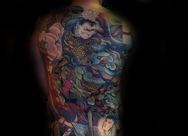 Artistic Chinese Full Back Male Tattoos
