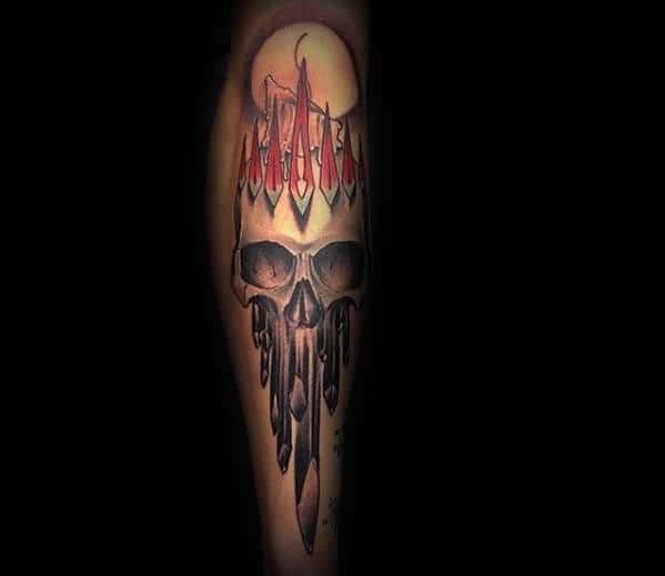 Artistic Crystal Skull With Moon Leg Tattoo Design Ideas For Guys