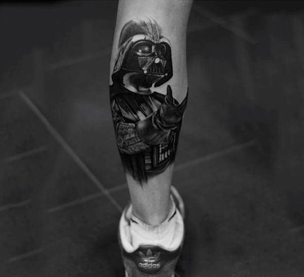 Artistic Darth Vader Tattoo Male Legs