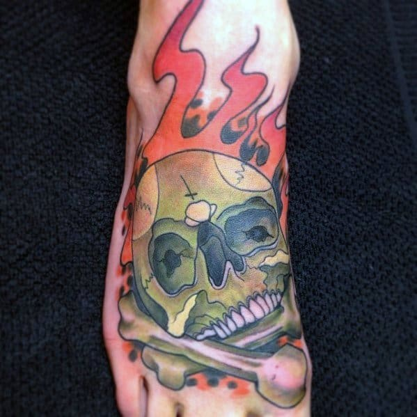 Artistic Foot Male Flaming Skull Tattoo Ideas