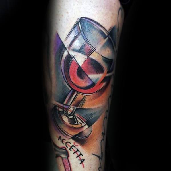 Artistic Forearm Wine Guys Tattoo Designs