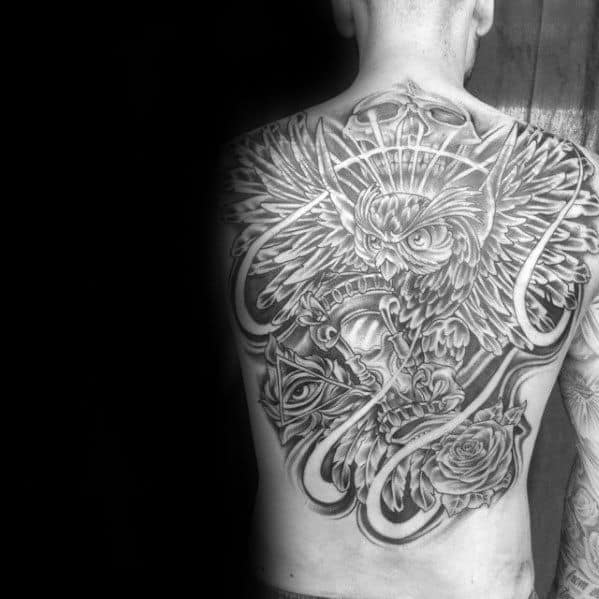 Artistic Full Back Male Flying Owl Tattoo Inspiration
