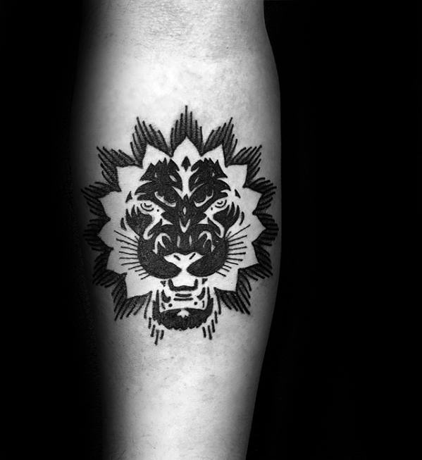Artistic Geometric Unique Forearm Lion Tattoo For Men