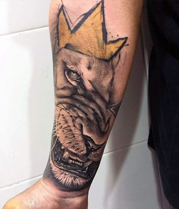 Artistic Gold Lion With Crown Mens Watercolor Forearm Tattoos