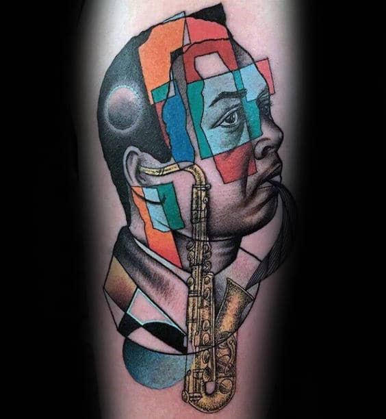 Artistic Guys Abstract Saxophone Thigh Tattoos