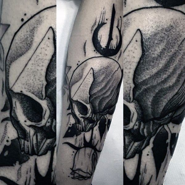 Artistic Guys Dotwork Unique Skull Forearm Tattoos