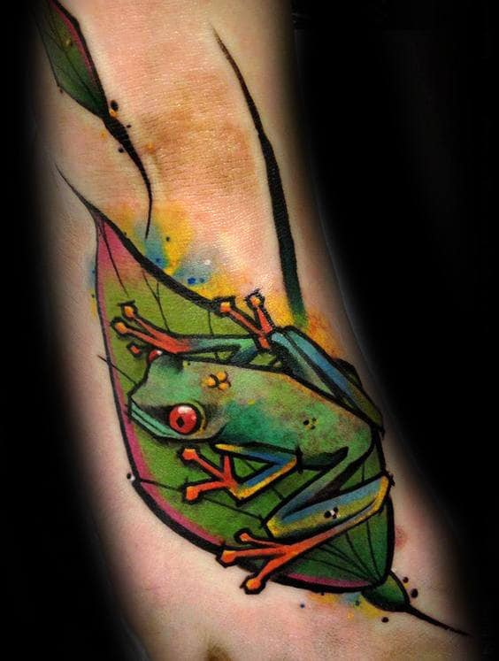 Artistic Guys Frog Foot Tattoos