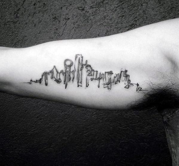 Artistic Guys Skyline Watercolor Sketched Inner Arm Bicep Tattoos