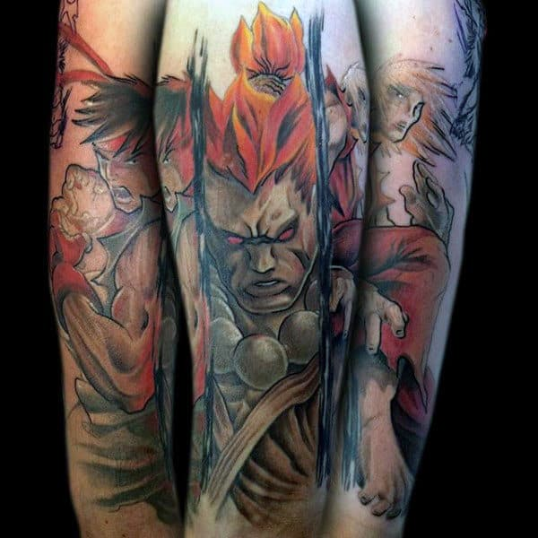Artistic Guys Street Fighter Forearm Watercolor Tattoos