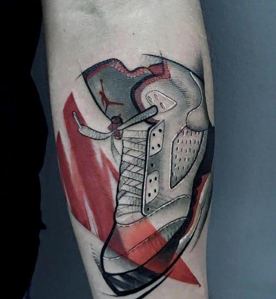 Artistic Jordan Shoe Mens Inner Forearm Tattoo