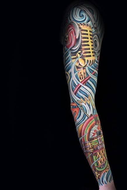 Artistic Juke Box Music Sleeve Guys Tattoos