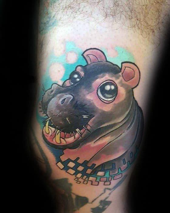 Artistic Leg New School Male Hippo Tattoo Ideas