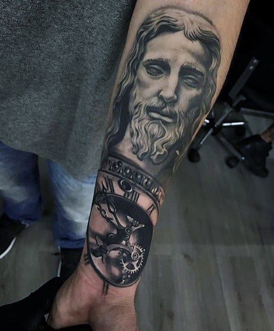 Artistic Male 3d Jesus Tattoo Ideas On Forearm