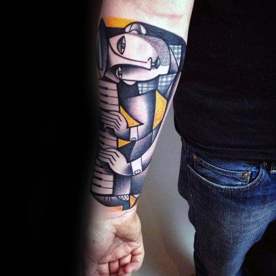 Artistic Male Abstract Piano Player Tattoo On Inner Forearm