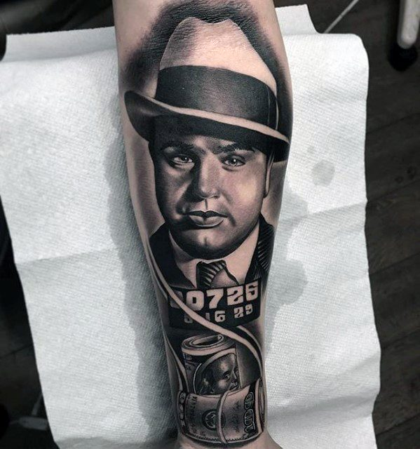 Artistic Male Al Capone Tattoo Ideas On Forearm