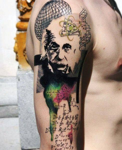 Artistic Male Albert Einstein Tattoo Ideas On Arm
