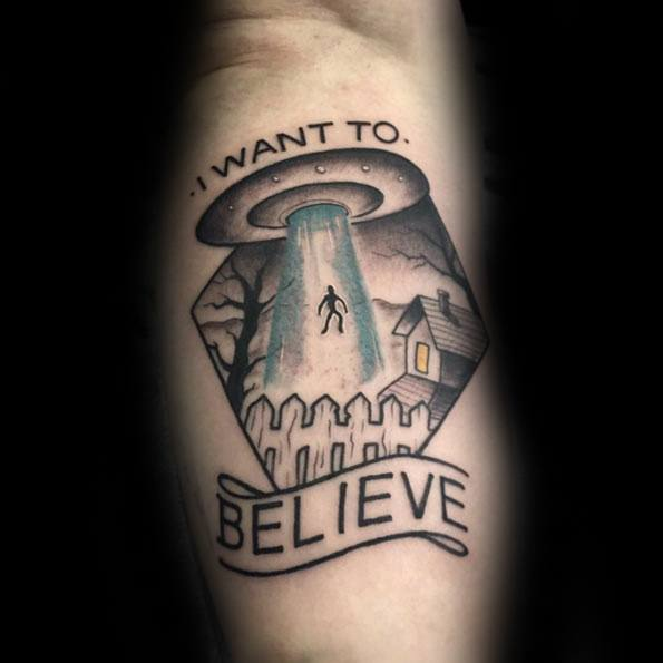 Artistic Male Alien Abduction I Want To Believe Tattoo Ideas On Arm