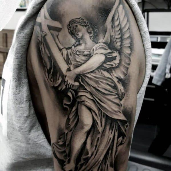 Artistic Male Angel Statue With Cross Arm Tattoo Ideas