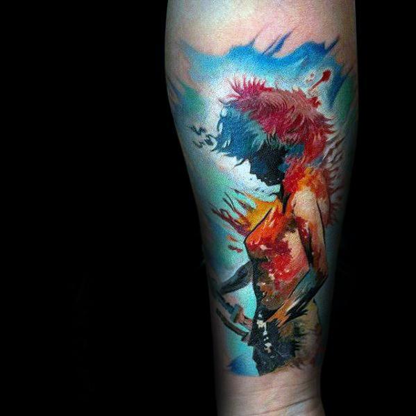 Artistic Male Anime Watercolor Forearm Sleeve Tattoo Ideas