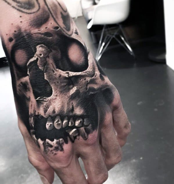Artistic Male Badass Skull Hand Tattoo Ideas