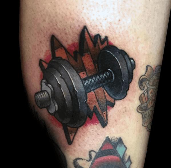 Artistic Male Barbell Tattoo Ideas