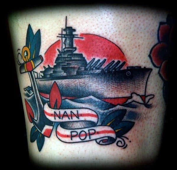 Artistic Male Battleship Memorial Arm Tattoo Ideas