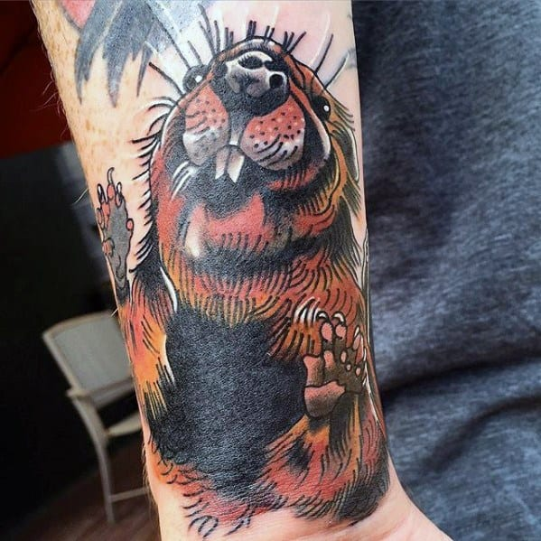 Artistic Male Beaver Tattoo Ideas