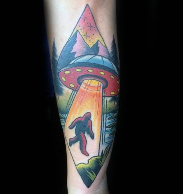 Artistic Male Bigfoot Tattoo Ideas On Forearm