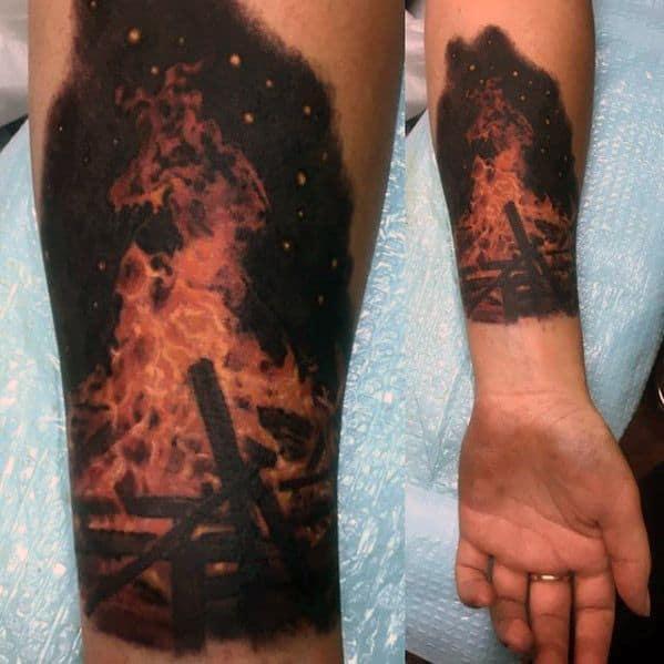 Artistic Male Campfire Tattoo Ideas