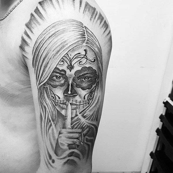 Artistic Male Catrina Tattoo Ideas