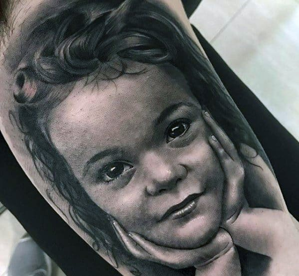 Artistic Male Child Portrait Shaded Black And Grey Ink Arm Tattoo Ideas