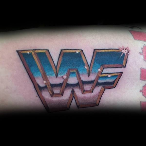 Artistic Male Chrome Wwf Logo Wrestling Arm Tattoo Ideas