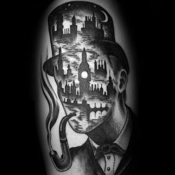 Artistic Male City Skyline London Sherlock Holmes Tattoo Ideas On Arm
