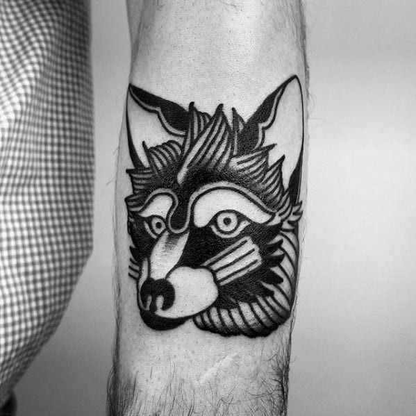 Artistic Male Coyote Head Traditional Inner Forearm Tattoo Ideas
