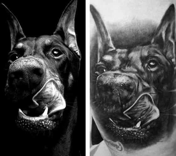 Artistic Male Doberman Dog Portrait 3d Realistic Tattoo Ideas