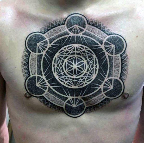 Artistic Male Dotwork Geometric Chest Tattoo Ideas