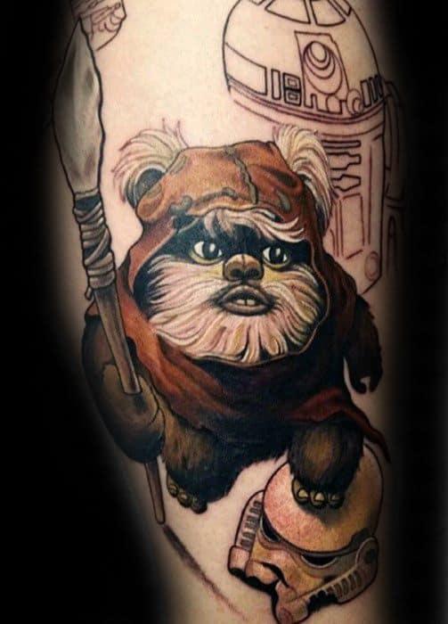 Artistic Male Ewok Tattoo Ideas