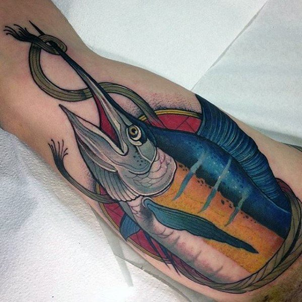 Artistic Male Fish Marlin Outer Arm Tattoo Ideas