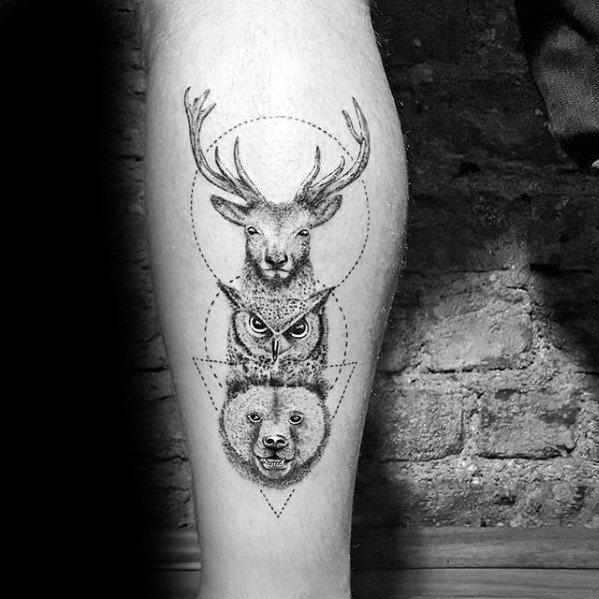 Artistic Male Geometric Animals Deer Owl And Bear Leg Tattoo Ideas