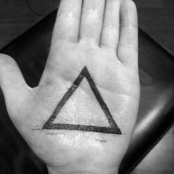 Artistic Male Geometric Hand Palm Solid Black Ink Triangle Outline Tattoo Ideas