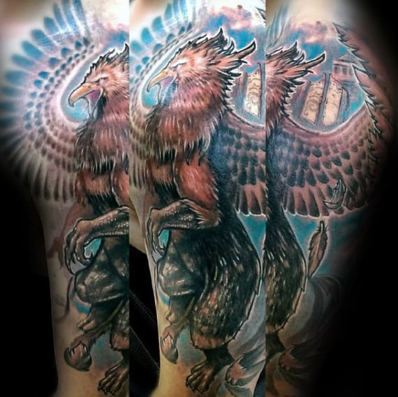 Artistic Male Griffin Arm Tattoos For Men
