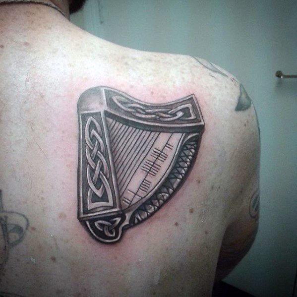 Artistic Male Harp Tattoo Ideas Celtic Shoulder Blade