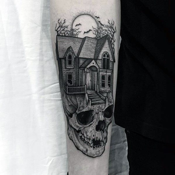 60 Haunted House Tattoo Designs For Men – Spooky Spot Ink Ideas on white house portraits, white house drawings, white house paintings, white house symbols,