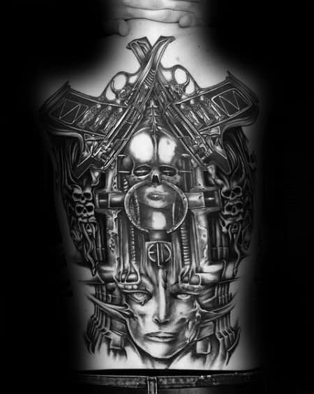 Artistic Male Hr Giger Tattoo Ideas