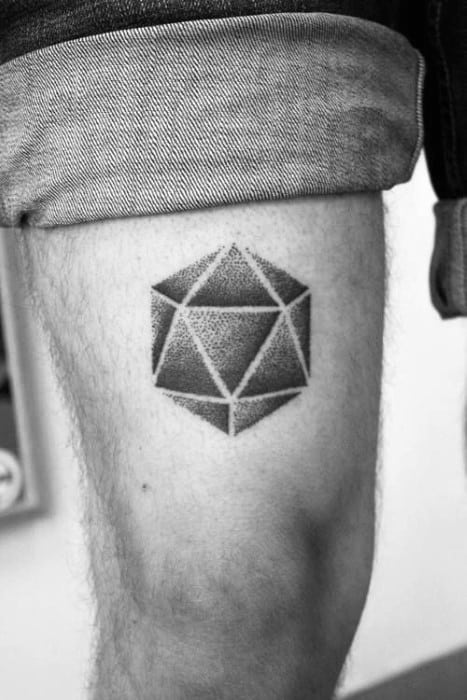 Artistic Male Icosahedron Tattoo Ideas