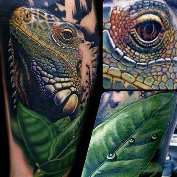Artistic Male Iguana Tattoo Ideas