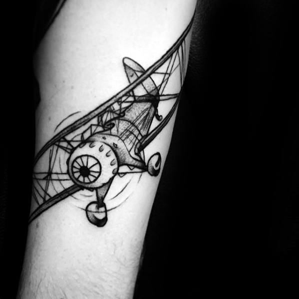 Artistic Male Incredible Vintage Flying Plane Forearm Tattoo Ideas